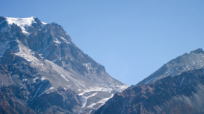 Thorong La pass as seen from the road from Muktinath, entering Mustang Valley, Nepal