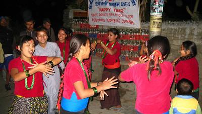 Kids dancing in Tihar festival—Tatopani, Nepal