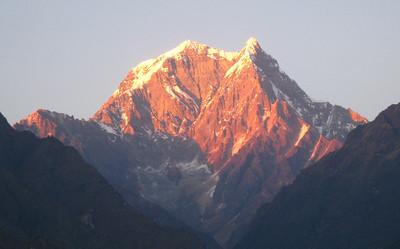 Sun Setting on Nilgiri—Tatopani, Nepal