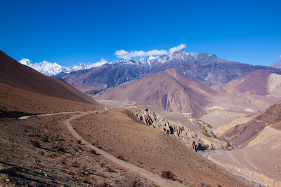 On the road from Muktinath, entering Mustang Valley, Nepal