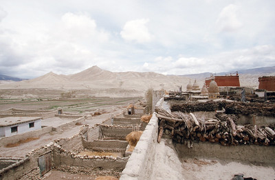 View of wall and city from rooftop, Lo Manthang