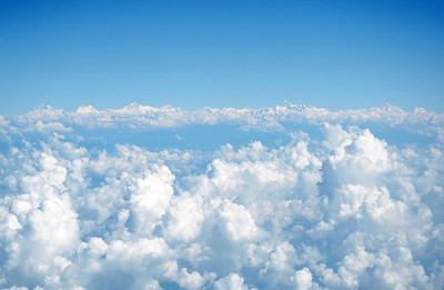 View of Himalayas and Mount Everest from airplane, on approach into Kathmandu