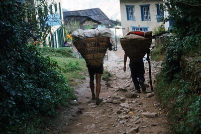 Bhandar (7,218 ft).  Porters entering village
