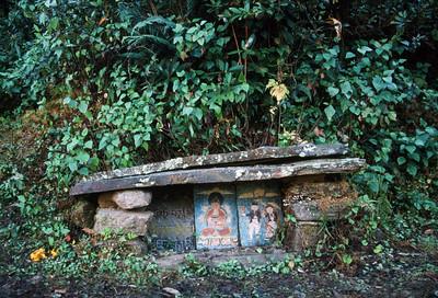 Buddhist memorial marker alongside trail near Jiri (6,248 ft)
