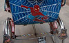 Street scene, Kathmandu, Nepal, December 2007 6    Spiderman decoration on cycle rickshaw.