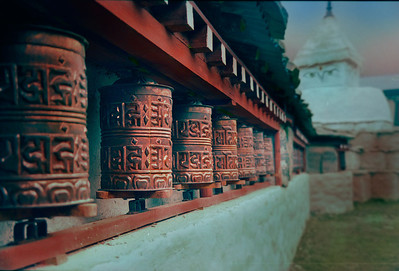 Prayer Wheels in Namche.