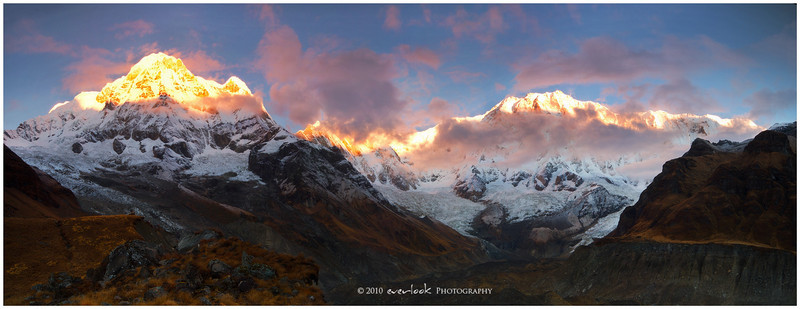 Dawn over the Annapurna Sanctuary from Annapurna Base Camp