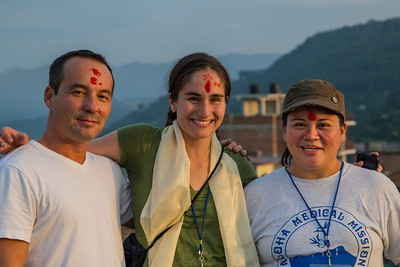 On the roof of our hotel, Suravi: Ron Baker, Christina Jacovides, Julie Sy