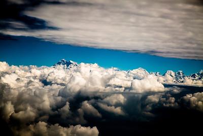Mt. Everest (Chomolungma, Sagarmatha) going east.