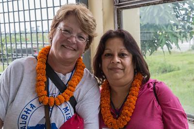 Nancy Loehrke, Shrilekha Champaneri at the Biratnagar airport.