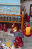Bodnath: Monks collect alms at the entrance to the stupa