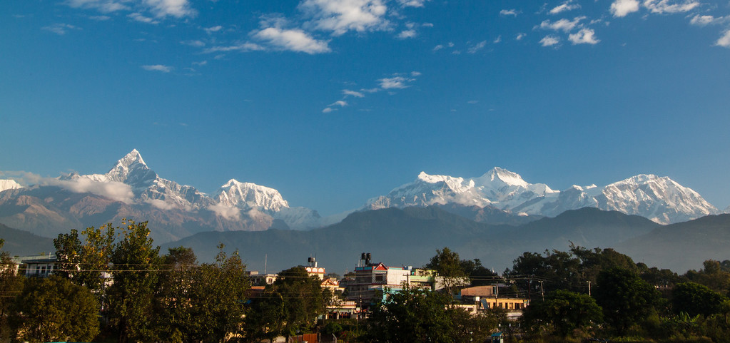 Good morning Pokhara! Annapurnas in distance. Nepal.