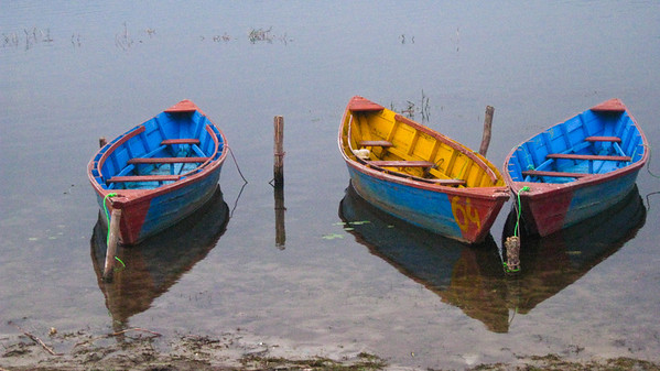 Boats on Phewa Lake, Pokhara, Nepal