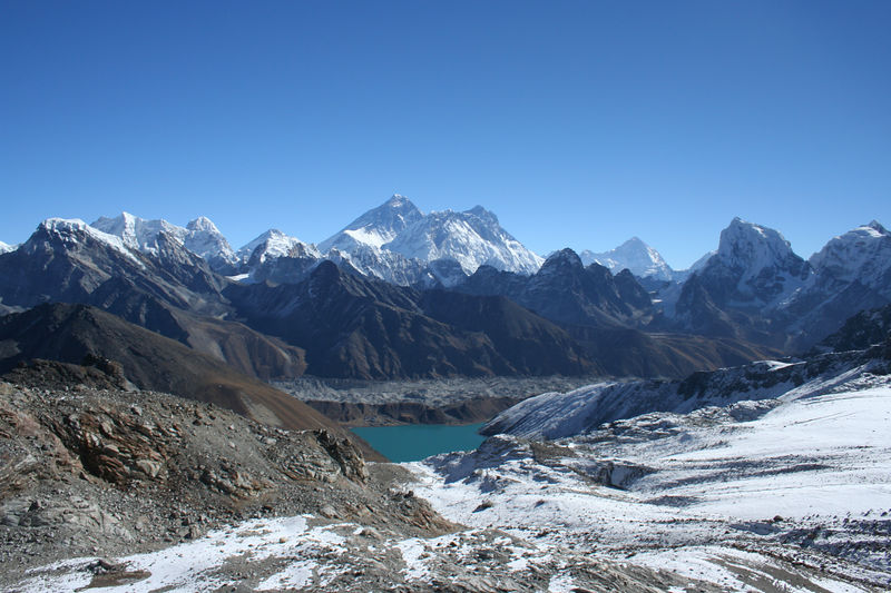 Last look at one of the Gokyo Lakes (Dudh Pokhari to be exact) and the Ngozumba Glacier. Everest, Nuptse and Lhotse are in the background.