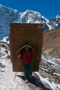 This Sherpa was setting up for the expeditions at Everest Base Camp