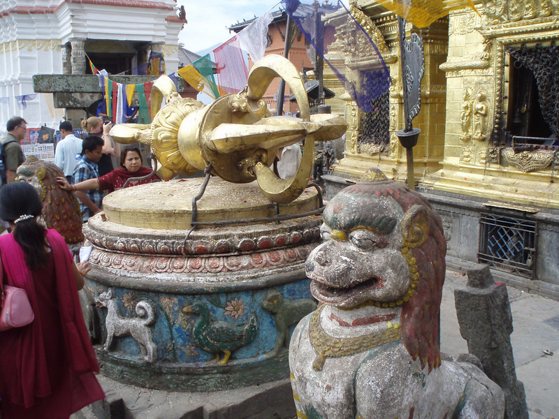in front of the stupa at Swayambhunath