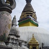 "Swayambhunath - the ""eyes"" were covered by a tarp, for renovation"