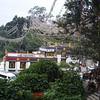 behind Swayambhunath - the monkeys swing from the prayer flags