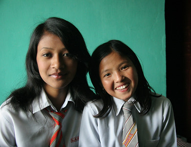 Nirmal's daughter on the left.  Binha on the right was adopted in 2009 and left for Australia.