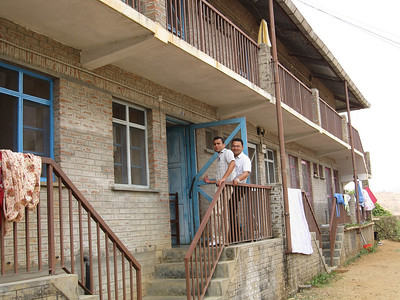 Basant and Anuj at the upper level residents' living quarters.
