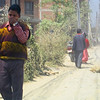 On a typical road, full of dust, going to Bhaktapur town.