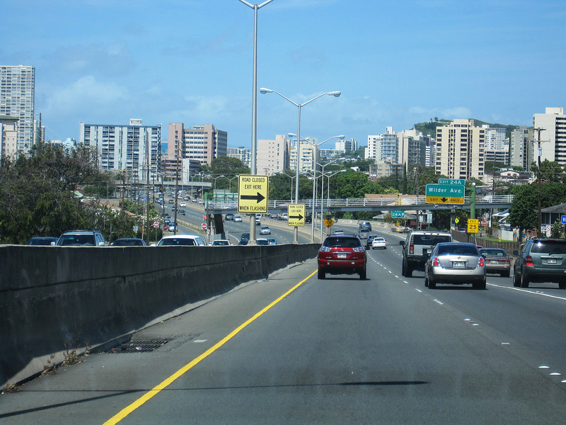 On the freeway in Honolulu, leaving for Kathmandu, March, 25, 2009, in Kathy Mah's hybrid Prius. We are in a totally different world.