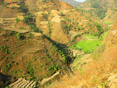 Terraces along the road between Pokhara and Tansen