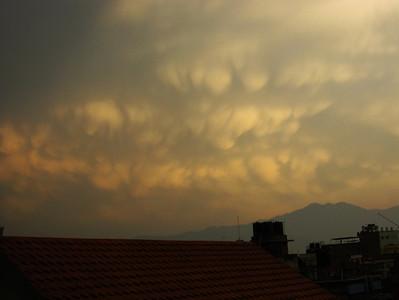 Mammatus clouds over Kathmandu after a rain