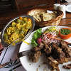 Lam kabob, paratha, and vegetable curry at the Fishtail Lodge. The best lamb i ever had.