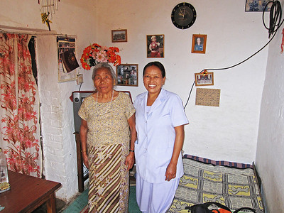 Beena and her mother. Her husband is in the Nepalese army and hardly ever home.