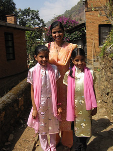 Laxmi and the kids, Alisha and Monica.