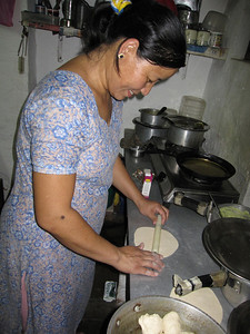 Suzanne making paratha.