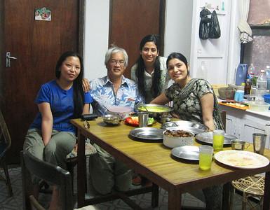 The lady residents cook me dinner: Usha, Bandana, Dibya.