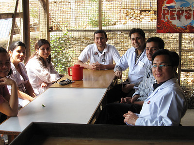The docs at morning breakfast. Baybi (the Filipino gynecologist), Dibya (intern), Karuna (2nd year resident), Basant (2nd year house officer), Pankaj (who resigned AWOL and disappeared one day), Anil (intern), Chura.