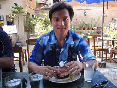 Chura and a hamburger at Nanglo's.