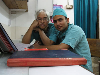 Basant and me at 4 in the morning after an emergency colostomy.