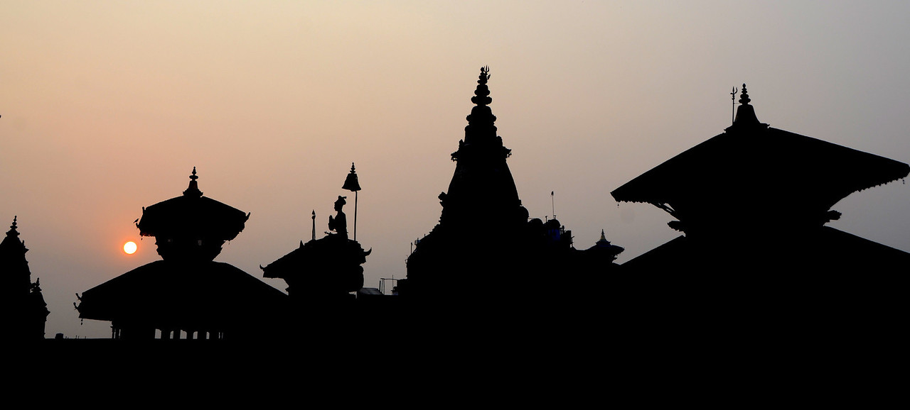 Sunrise at Bhaktapur Durbar Square in Nepal.