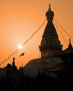 Swayumbhunath Buddhist temple (aka Monkey Temple) on the western edge of Kathmandu.  Though Buddhist, it is highly revered by Hindus as well.