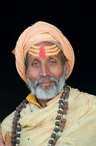 Holy man at Pashupatinath Hindu temple in Kathmandu, Nepal.