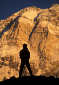 Self-portrait in front of Annapurna I (at Annapurna Base Camp)