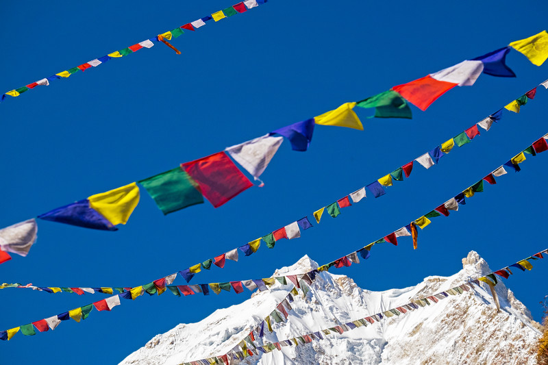 Prayer flags with Manaslu summit