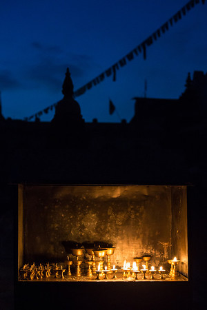 Candles and prayer flags - Shivaratri Festival