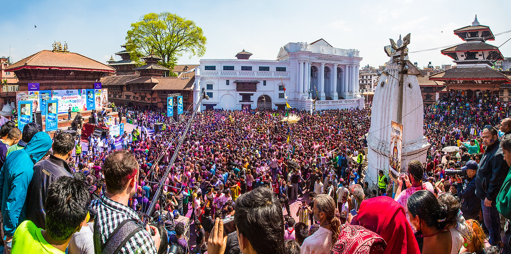 Holi celebration in Durbar Square, Kathmandu