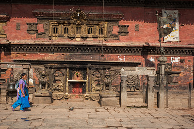 Women walking in front of Temple, Kathmandu, Nepal