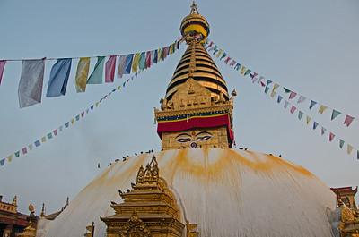 Swayumbhunath Tibetan Buddhist temple (aka Monkey Temple) outside Kathmandu, Nepal
