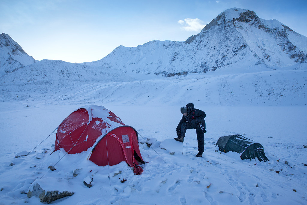 Camp on the Hunku Glacier