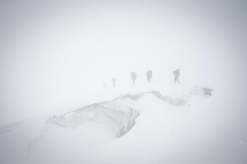 Crossing Mera La (5415 m) in heavy fog.
