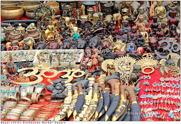 Lots and lots of masks, knives, singing bowls, prayer wheels, bead necklaces