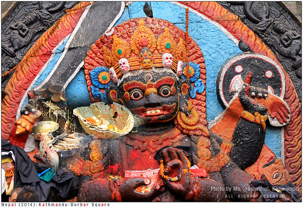 Kal Bhairav at Kathmandu Durbar Square. A huge stone image of Bhairav represents deity Shiva in his destructive manifestation. It was used by the Gov. as a place for people to swear the truth.
