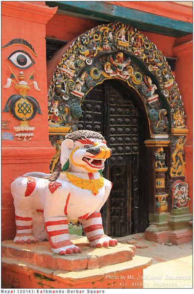 Nice grin huh? Singh Dhoka (Lions Gate) standing at the entrance to Taleju Temple